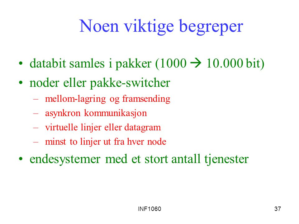 Noen viktige begreper databit samles i pakker (1000  10.000 bit)