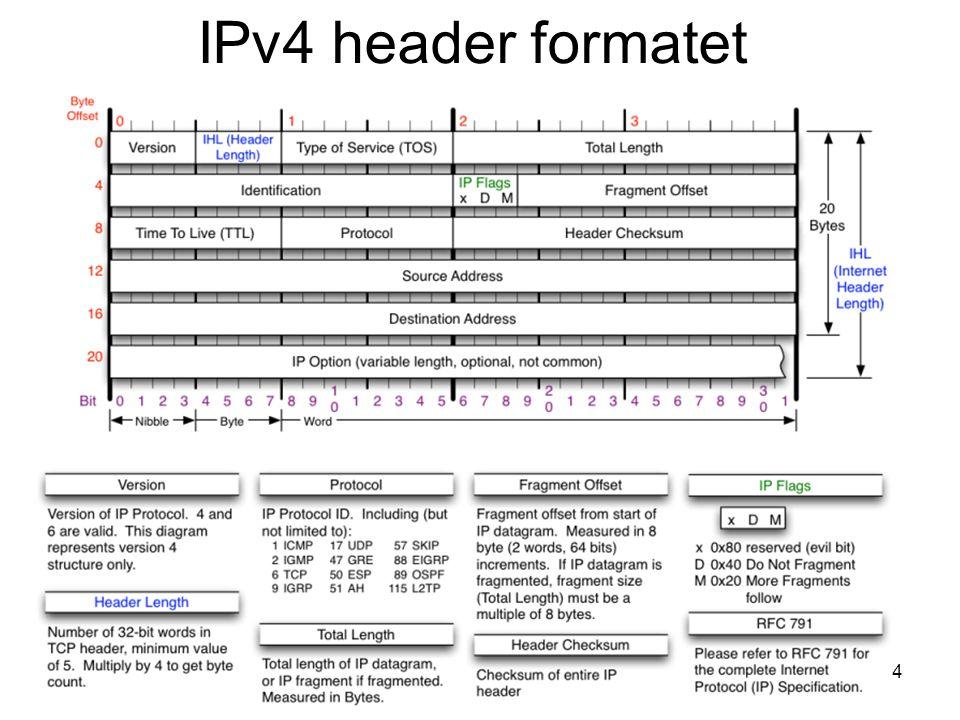 IPv4 header formatet INF1060