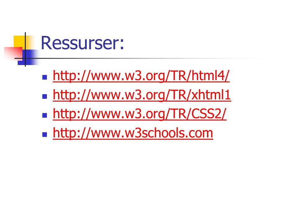 Ressurser: http://www.w3.org/TR/html4/ http://www.w3.org/TR/xhtml1