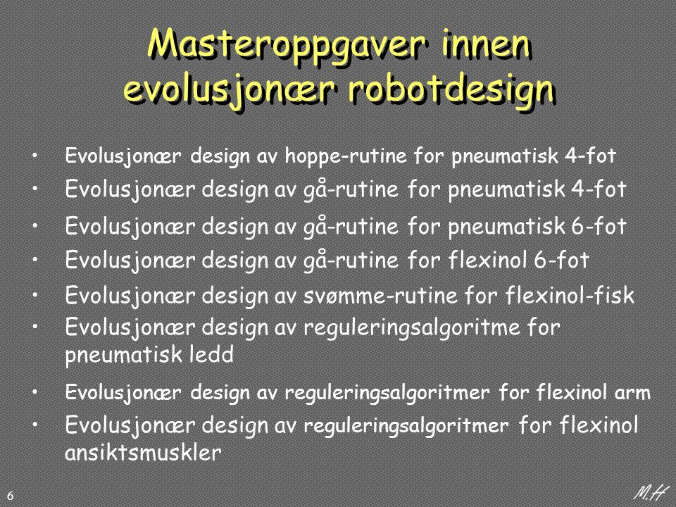 Masteroppgaver innen evolusjonær robotdesign