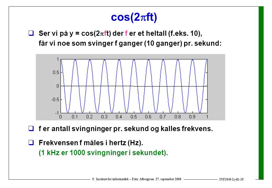cos(2ft) Ser vi på y = cos(2ft) der f er et heltall (f.eks. 10), får vi noe som svinger f ganger (10 ganger) pr. sekund: