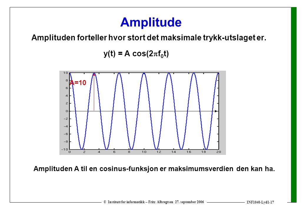 Amplituden A til en cosinus-funksjon er maksimumsverdien den kan ha.