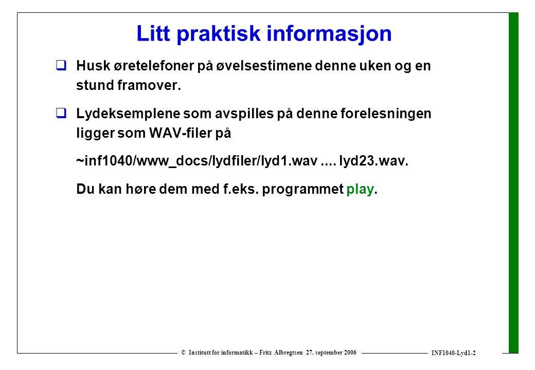 Litt praktisk informasjon