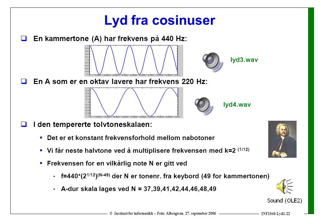 Lyd fra cosinuser En kammertone (A) har frekvens på 440 Hz: