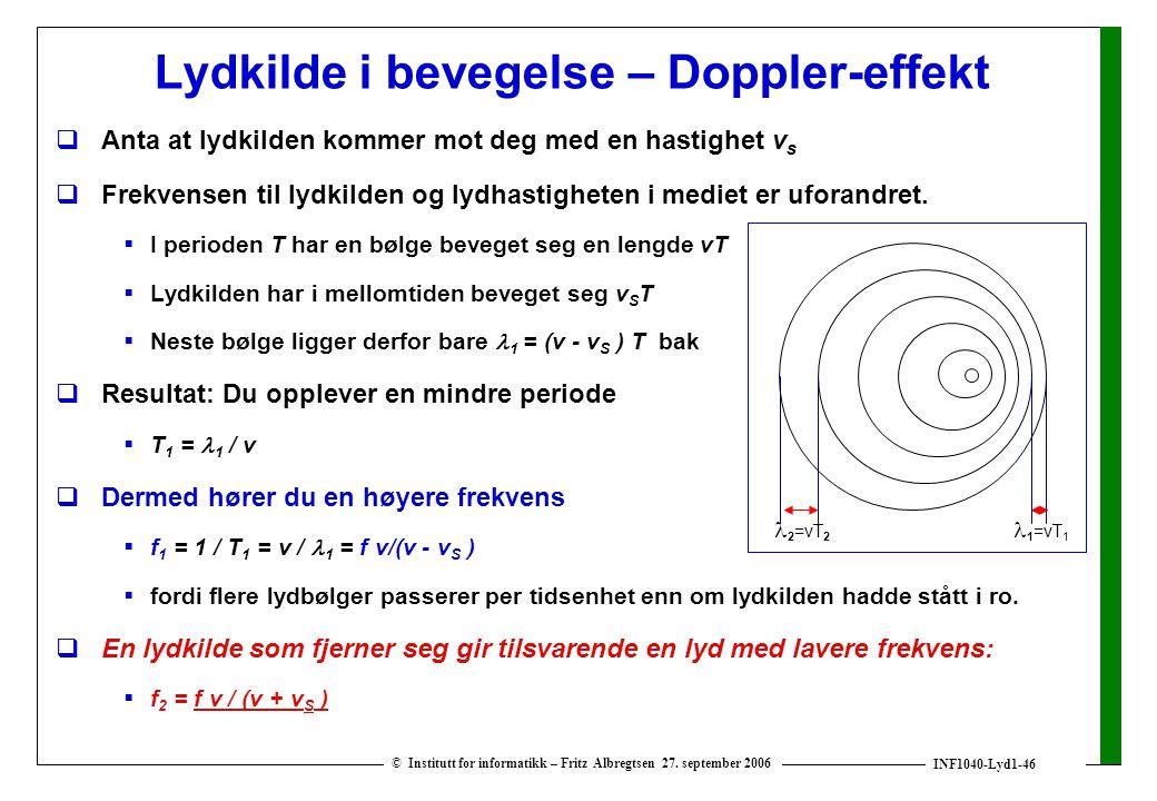 Lydkilde i bevegelse – Doppler-effekt