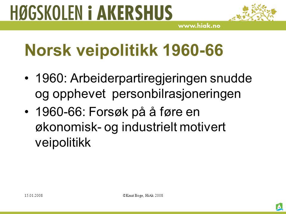 Norsk veipolitikk 1960-66 1960: Arbeiderpartiregjeringen snudde og opphevet personbilrasjoneringen.