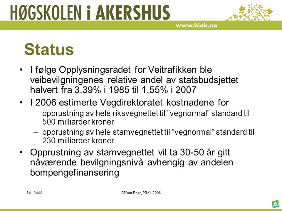 Status I følge Opplysningsrådet for Veitrafikken ble veibevilgningenes relative andel av statsbudsjettet halvert fra 3,39% i 1985 til 1,55% i 2007.
