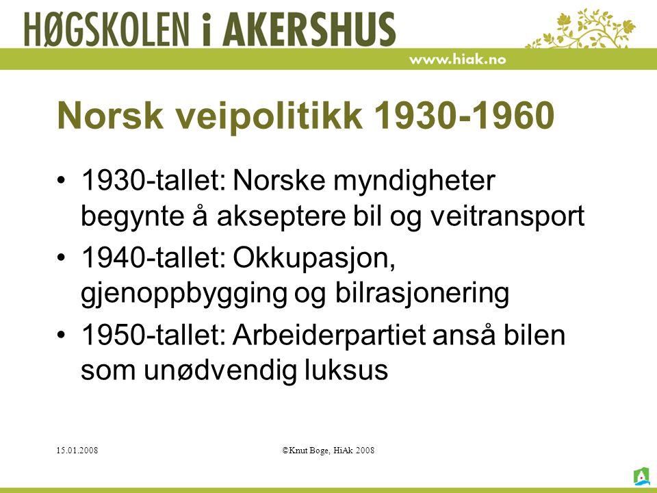 Norsk veipolitikk 1930-1960 1930-tallet: Norske myndigheter begynte å akseptere bil og veitransport.