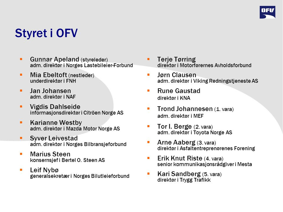 Styret i OFV Gunnar Apeland (styreleder) adm. direktør i Norges Lastebileier-Forbund. Mia Ebeltoft (nestleder) underdirektør i FNH.