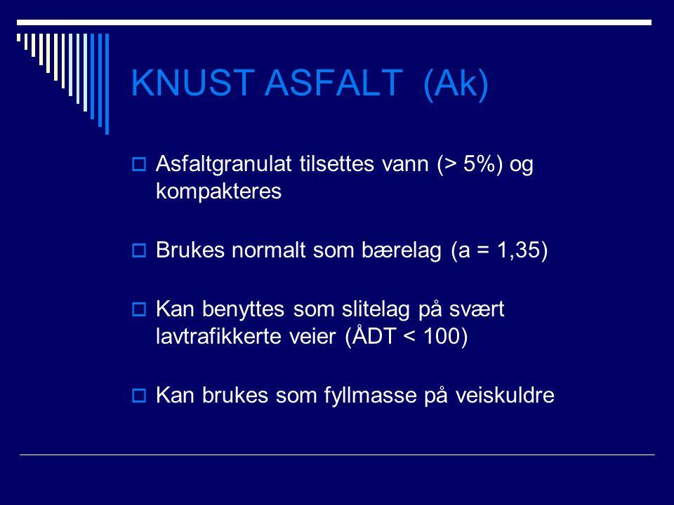 KNUST ASFALT (Ak) Asfaltgranulat tilsettes vann (> 5%) og kompakteres. Brukes normalt som bærelag (a = 1,35)