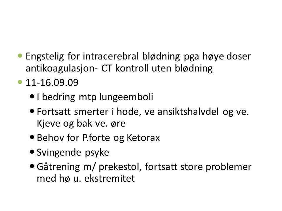 Engstelig for intracerebral blødning pga høye doser antikoagulasjon- CT kontroll uten blødning