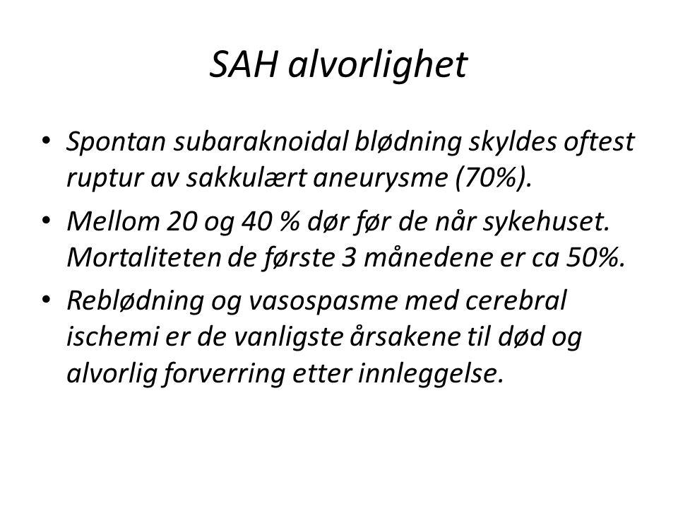 SAH alvorlighet Spontan subaraknoidal blødning skyldes oftest ruptur av sakkulært aneurysme (70%).