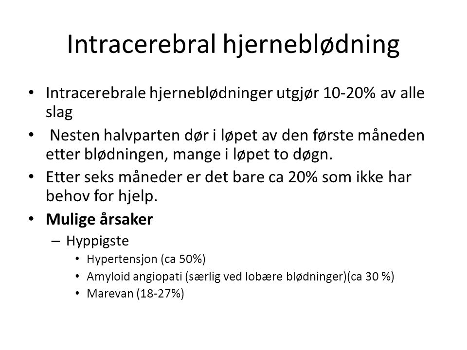 Intracerebral hjerneblødning