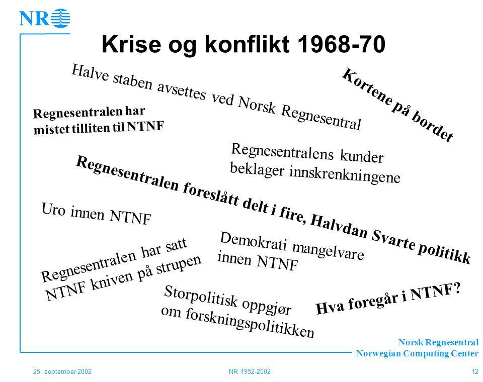 Krise og konflikt 1968-70 Halve staben avsettes ved Norsk Regnesentral