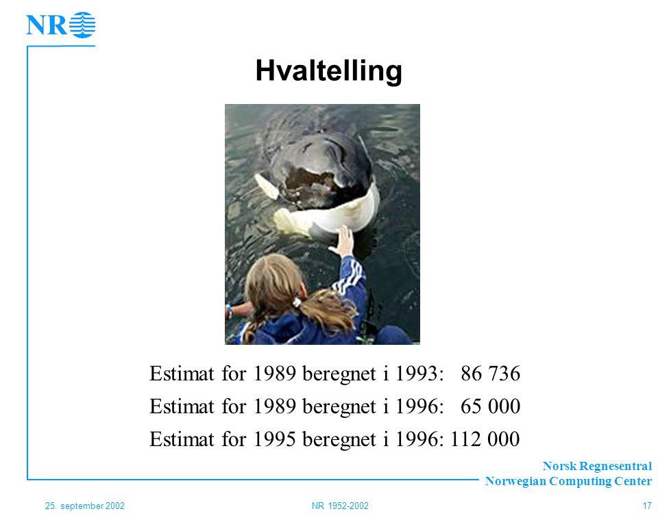 Hvaltelling Estimat for 1989 beregnet i 1993: 86 736