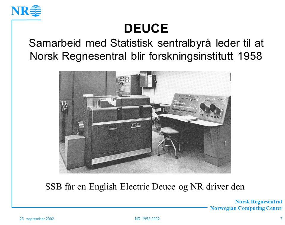 DEUCE Samarbeid med Statistisk sentralbyrå leder til at Norsk Regnesentral blir forskningsinstitutt 1958