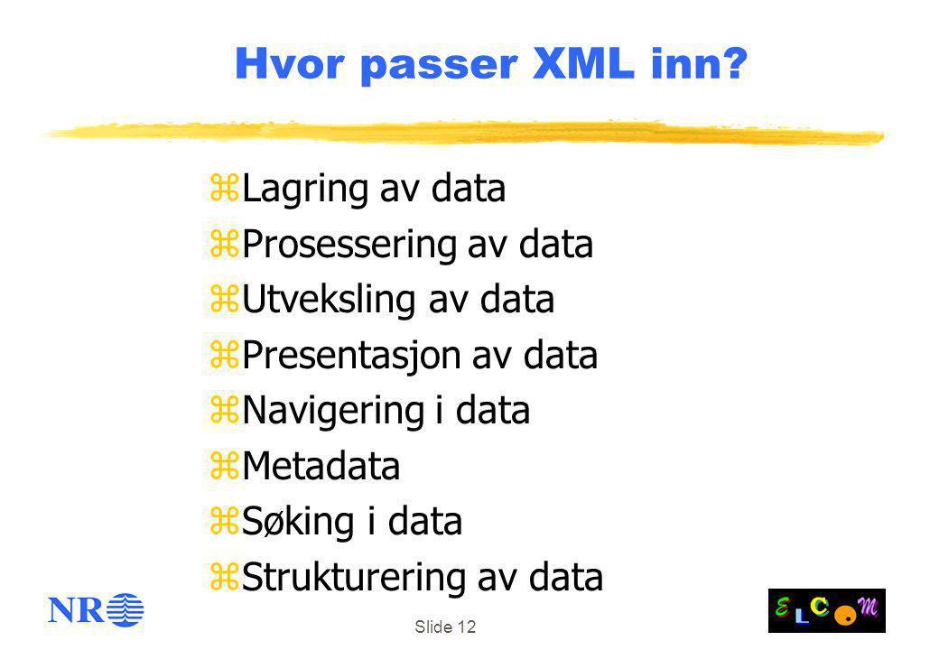 Hvor passer XML inn Lagring av data Prosessering av data
