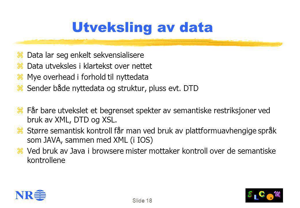 Utveksling av data Data lar seg enkelt sekvensialisere
