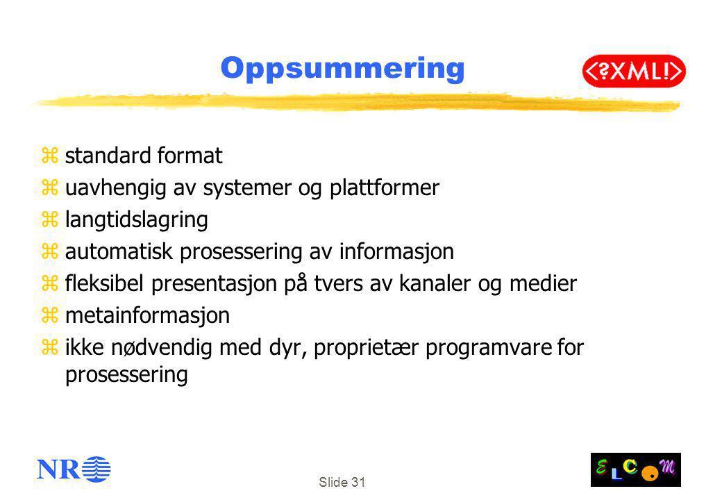 Oppsummering standard format uavhengig av systemer og plattformer