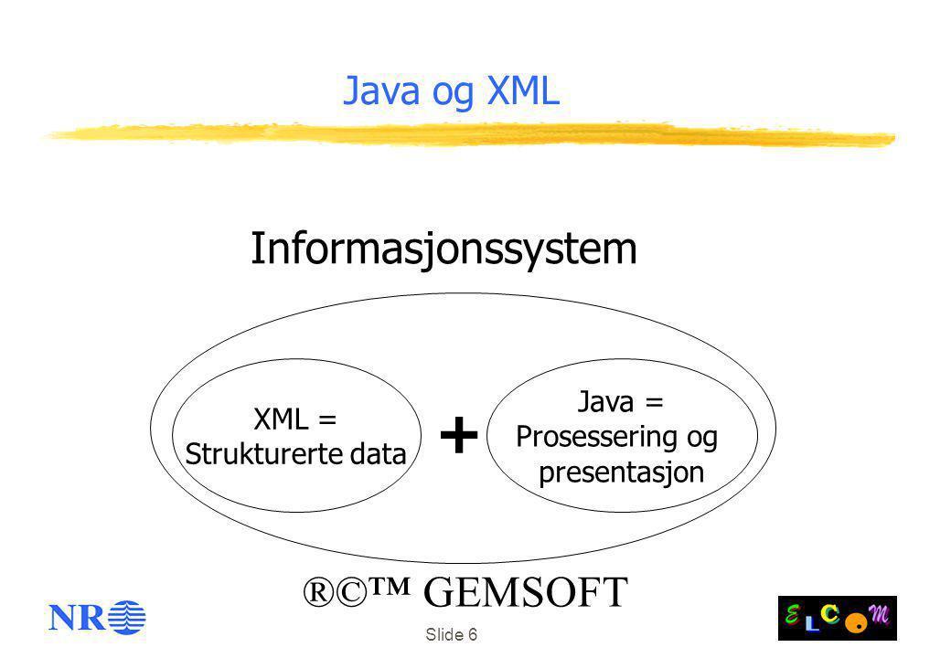 + Informasjonssystem ®©™ GEMSOFT Java og XML Java = XML =