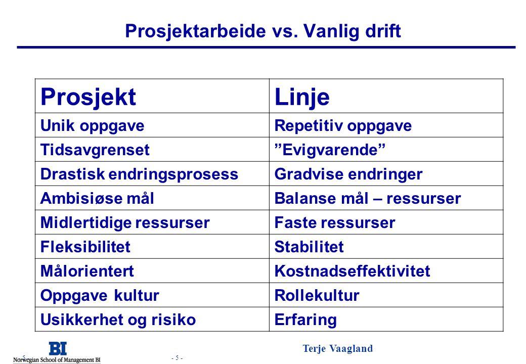 Prosjektarbeide vs. Vanlig drift