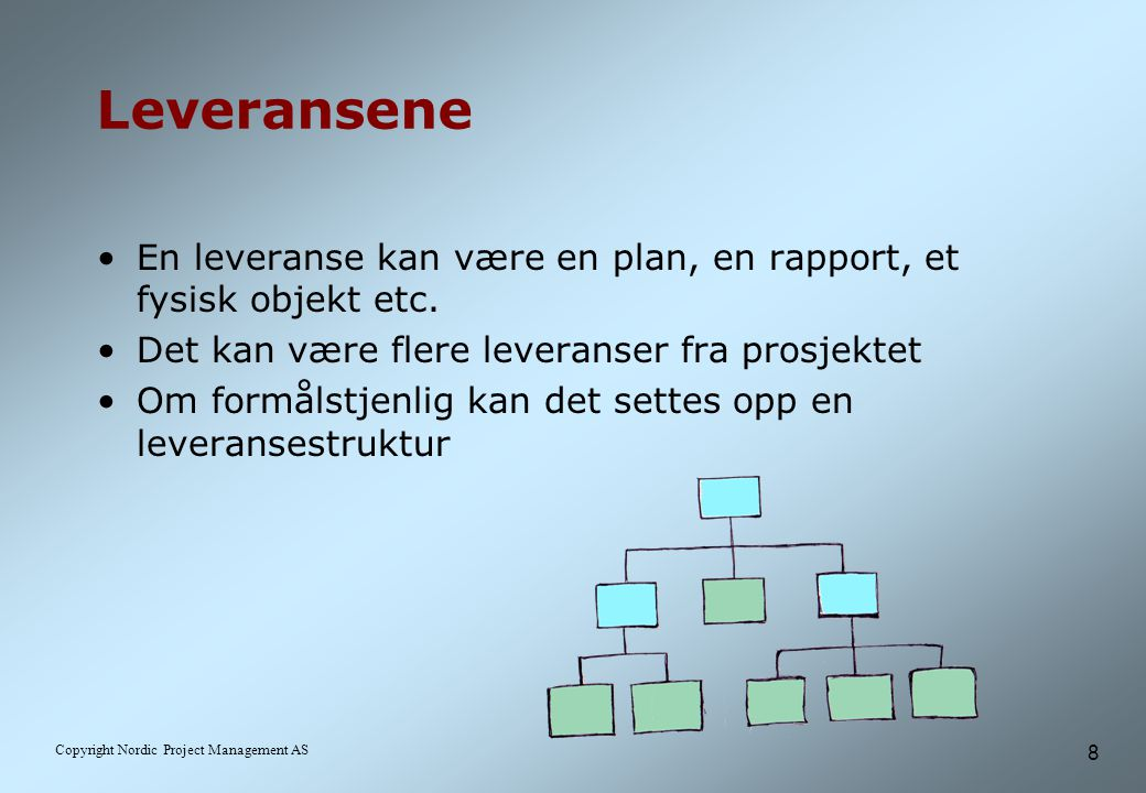 Leveransene En leveranse kan være en plan, en rapport, et fysisk objekt etc. Det kan være flere leveranser fra prosjektet.
