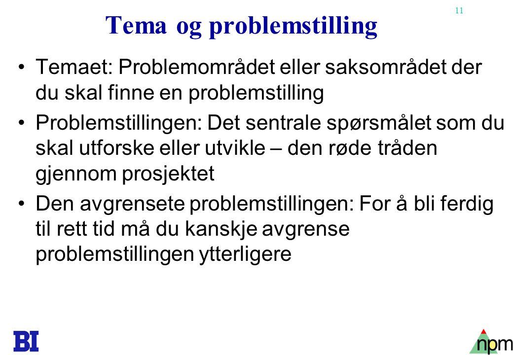 Tema og problemstilling
