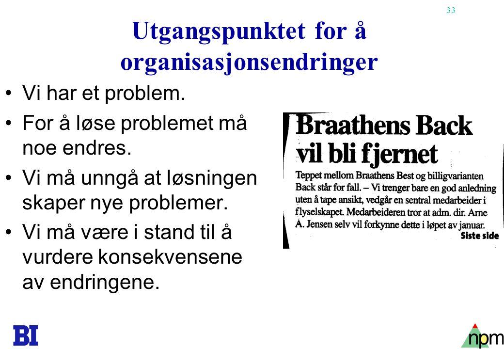 Utgangspunktet for å organisasjonsendringer