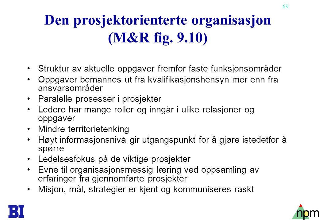 Den prosjektorienterte organisasjon (M&R fig. 9.10)
