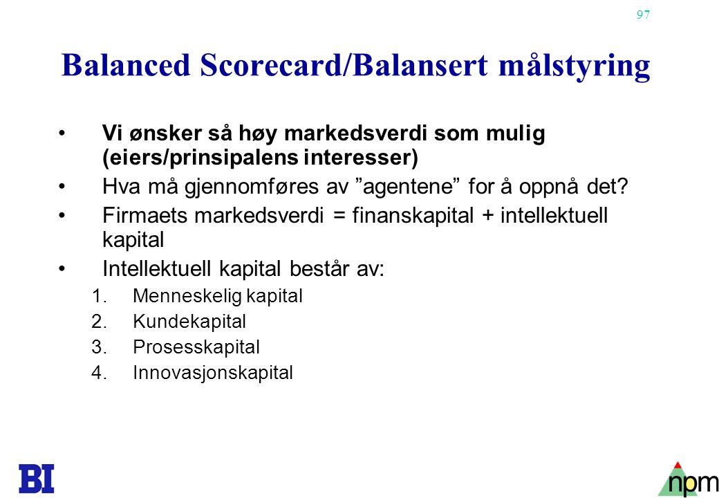 Balanced Scorecard/Balansert målstyring