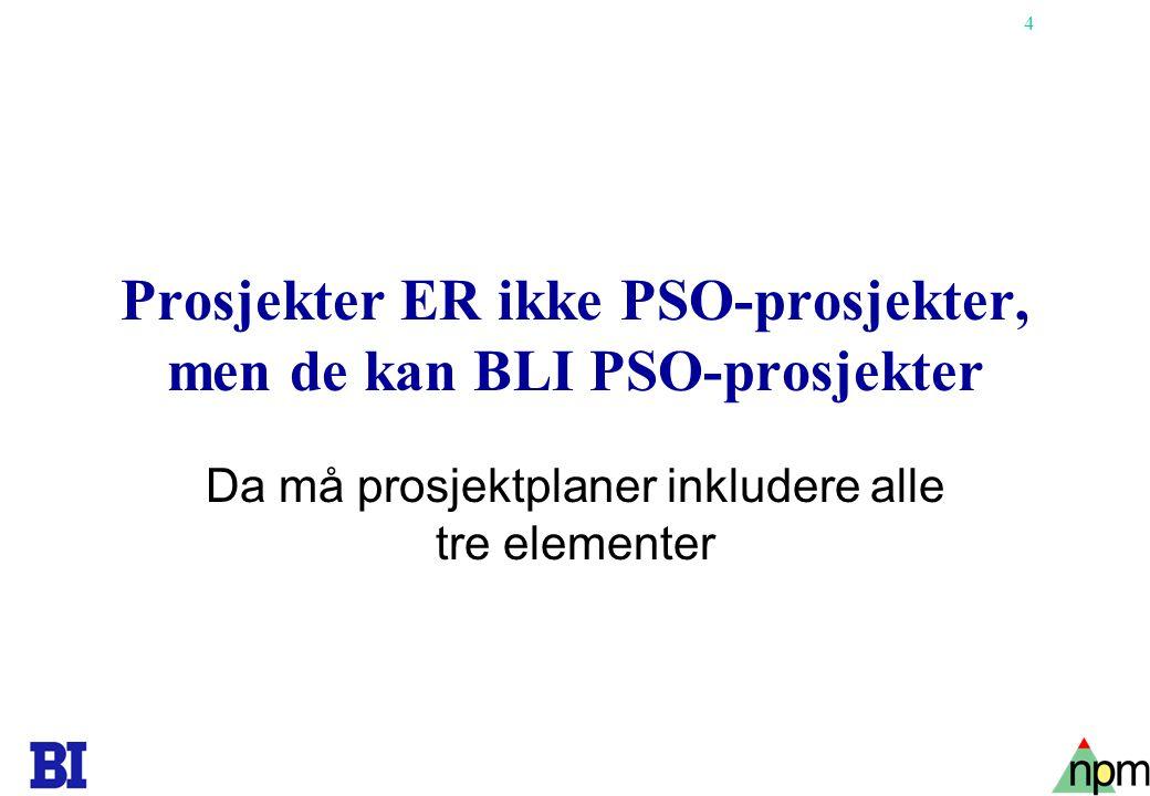 Prosjekter ER ikke PSO-prosjekter, men de kan BLI PSO-prosjekter