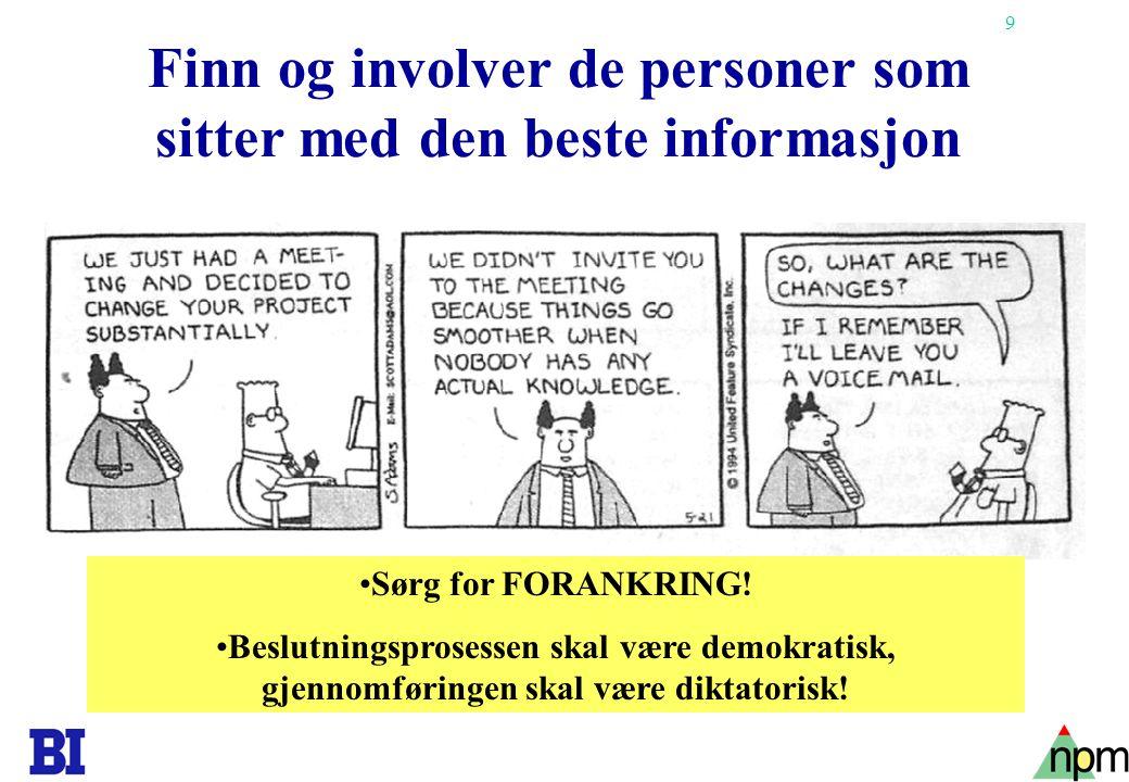 Finn og involver de personer som sitter med den beste informasjon