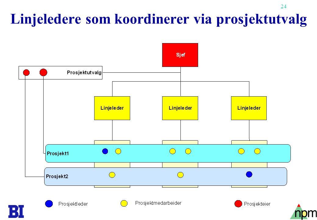 Linjeledere som koordinerer via prosjektutvalg