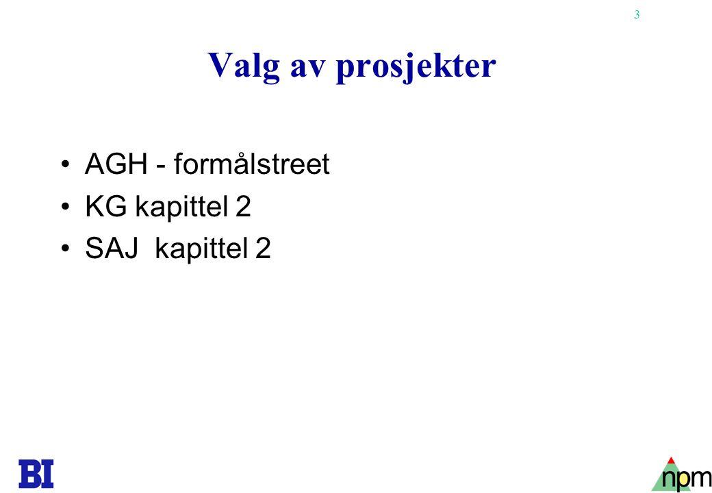 Valg av prosjekter AGH - formålstreet KG kapittel 2 SAJ kapittel 2