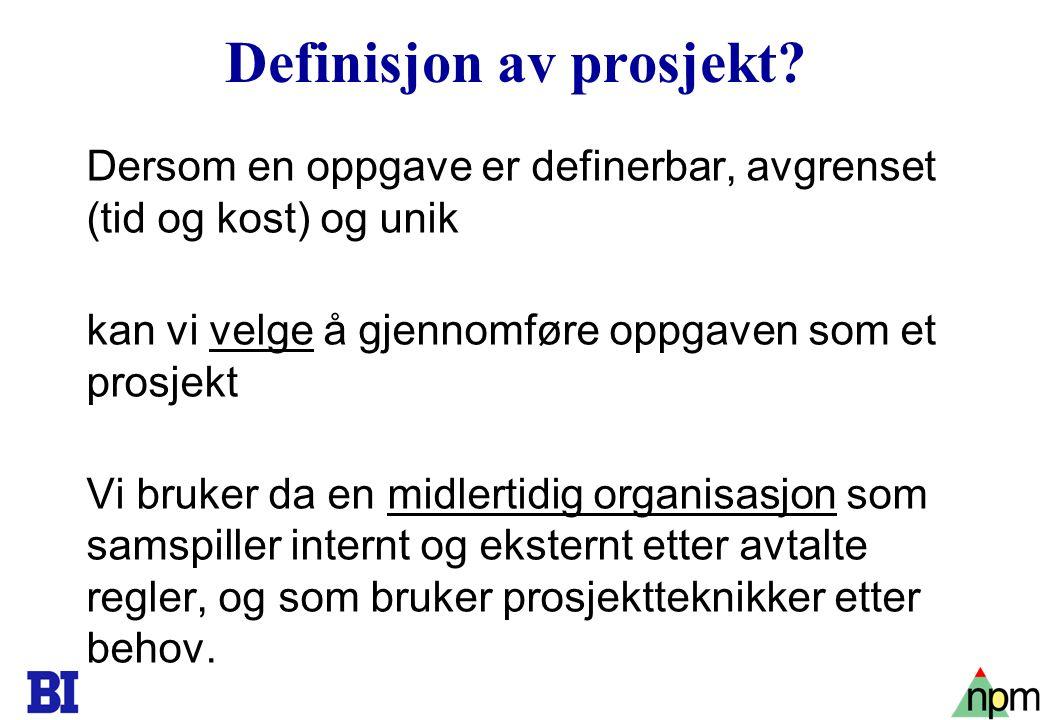 Definisjon av prosjekt
