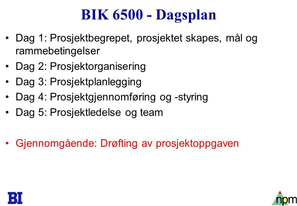 BIK 6500 - Dagsplan Dag 1: Prosjektbegrepet, prosjektet skapes, mål og rammebetingelser. Dag 2: Prosjektorganisering.