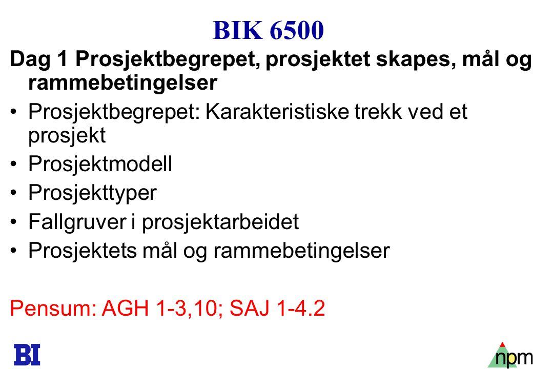 BIK 6500 Dag 1 Prosjektbegrepet, prosjektet skapes, mål og rammebetingelser. Prosjektbegrepet: Karakteristiske trekk ved et prosjekt.