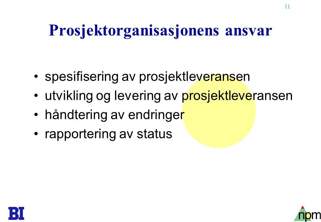 Prosjektorganisasjonens ansvar