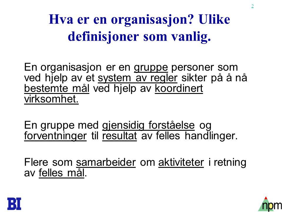 Hva er en organisasjon Ulike definisjoner som vanlig.