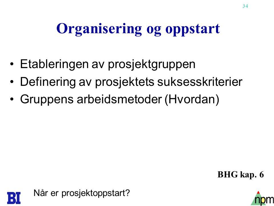 Organisering og oppstart