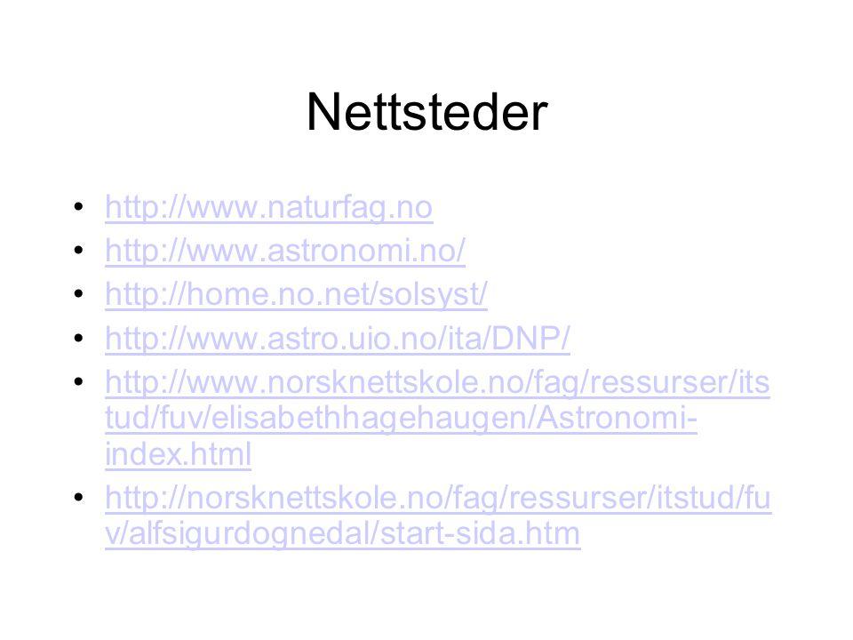 Nettsteder http://www.naturfag.no http://www.astronomi.no/