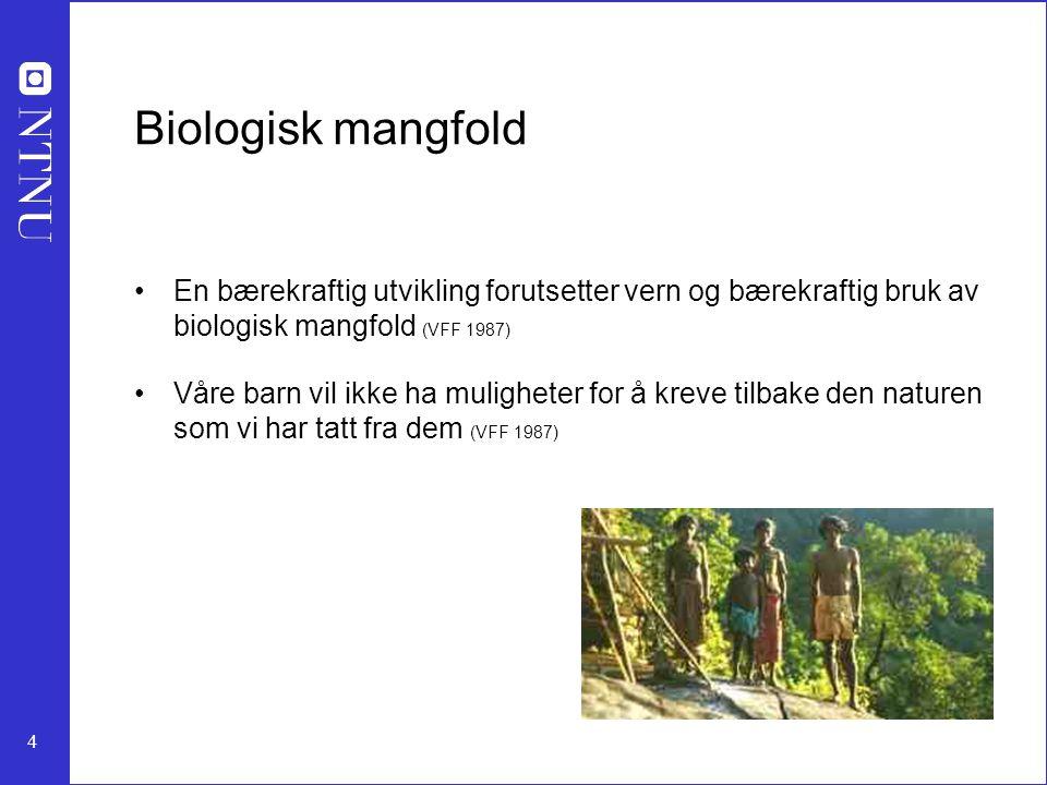 Biologisk mangfold En bærekraftig utvikling forutsetter vern og bærekraftig bruk av biologisk mangfold (VFF 1987)