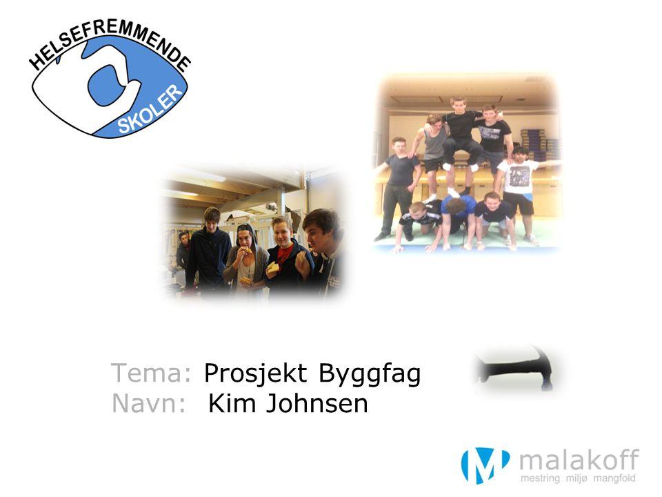 Tema: Prosjekt Byggfag Navn: Kim Johnsen