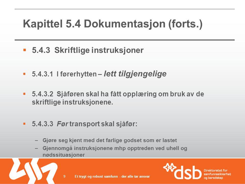 Kapittel 5.4 Dokumentasjon (forts.)