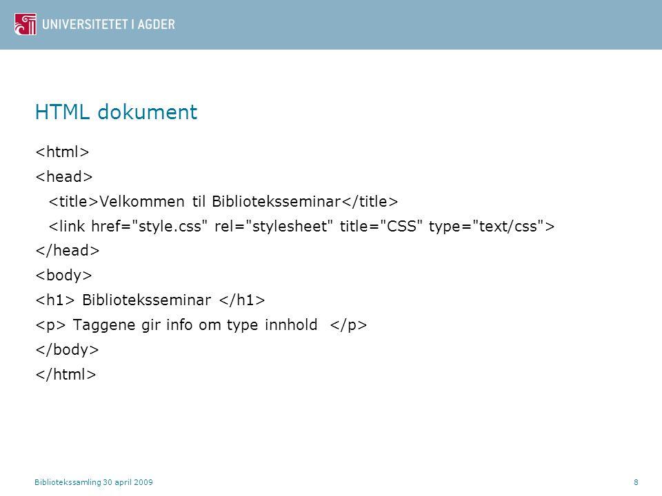 HTML dokument <html> <head>