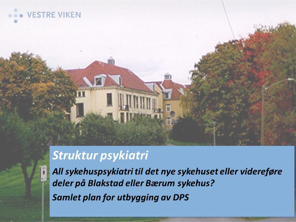 Struktur psykiatri All sykehuspsykiatri til det nye sykehuset eller videreføre deler på Blakstad eller Bærum sykehus