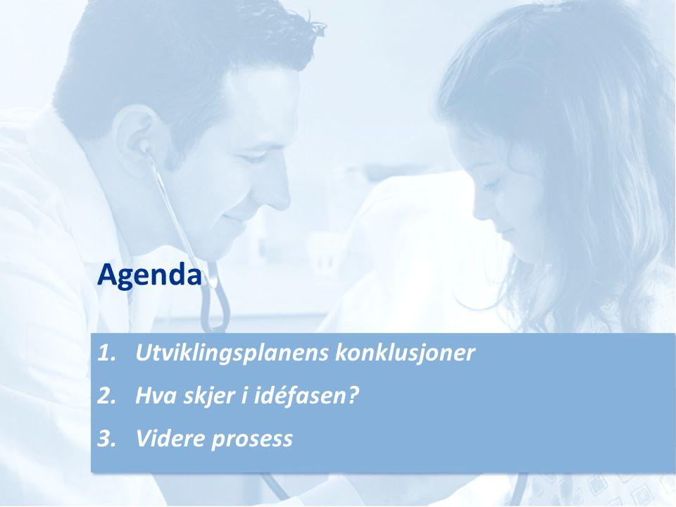 Agenda Utviklingsplanens konklusjoner Hva skjer i idéfasen