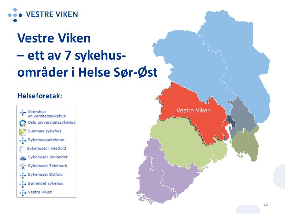 Vestre Viken – ett av 7 sykehus- områder i Helse Sør-Øst Helseforetak: