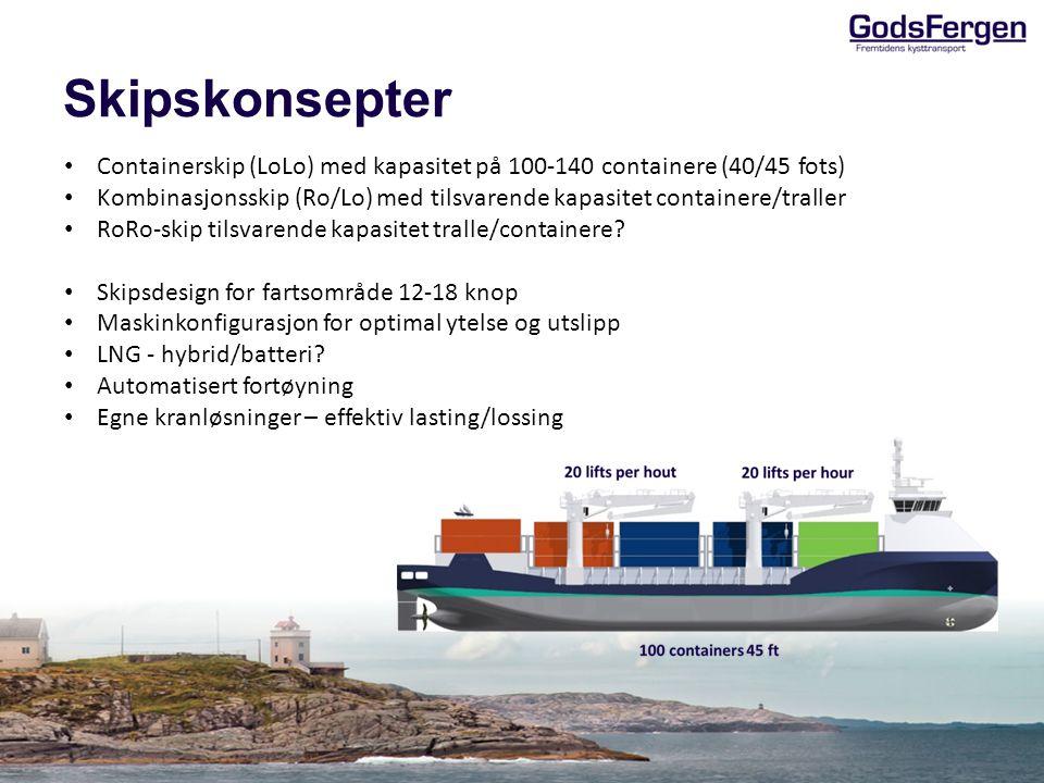 Skipskonsepter Containerskip (LoLo) med kapasitet på 100-140 containere (40/45 fots)