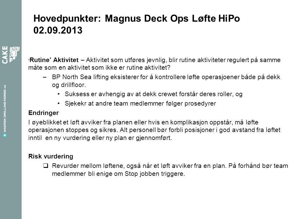 Hovedpunkter: Magnus Deck Ops Løfte HiPo 02.09.2013